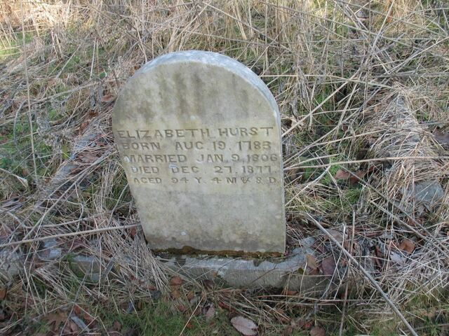 File:Flat Creek Cemetery, stone of Elizabeth Beard Hurst.JPG