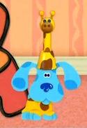 Blue dressed as a giraffe