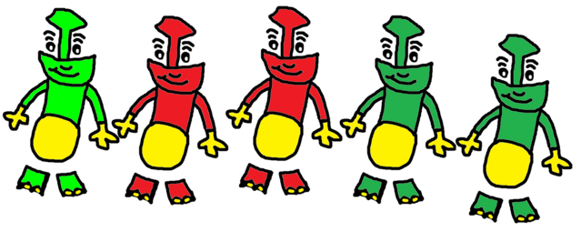 File:Percy, Skarloey, Rheneas, Peter Sam, and Trevor as The Globox Children..png