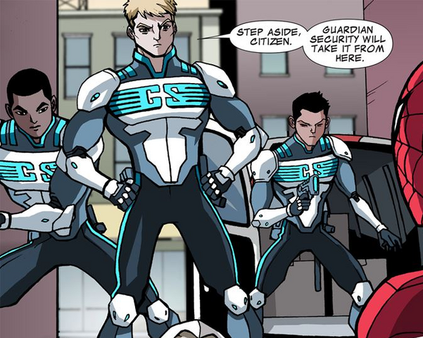 File:Guardian Security (Earth-12041) from Ultimate Spider-Man Infinite Comic Vol 1 15 0001.png
