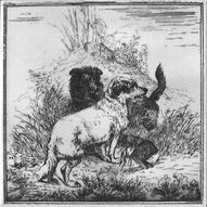 Two dogs with a dead hare