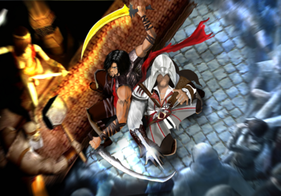 Prince and ezio vs sand monster and templars by mohanmx-d5dgbh8