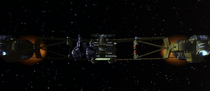 Kodan Command Ship preparing to ram Gunstar One