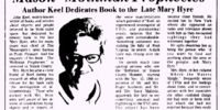 Mason 'Mothman Prophecies' Author Keel Deicates Book to the Late Mary Hyre