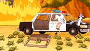 S6E15.227 Mordecai and CJ Escaping the Police Car
