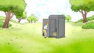 S4E12.183 A Man Running Towards a Portable Toilet