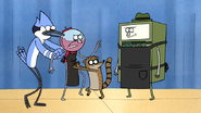 S7E19.108 Mordecai and Rigby Taking Benson Off Stage