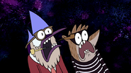 S3E04.238 Mordecai and Rigby Screaming at the Wizard