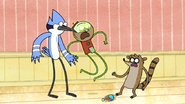 S6E04.185 Ghost Benson Scaring Mordecai and Rigby