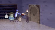 S4E30.087 Mordecai Handing the LaserDisc to the Librarian