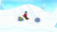 S8E23.040 The Duo and Eileen Sledding Down the Hill