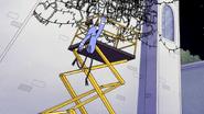 S6E11.173 Mordecai Hanging on the Scissor Lift