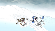 S6E27.100 Mordecai and Rigby Sliding Down the Snow