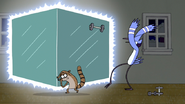 S4E16.164 Mordecai Throwing a Dumbbell at the Box