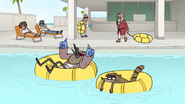 S7E01.102 Bum Mordecai and Rigby Floating in the Pool