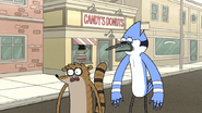 S7E13.052 Mordecai and Rigby Watching Apple Sauce Being Taken Away