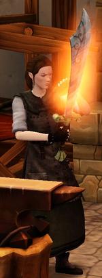 Fiery precise scimitar sharpened by blacksmith