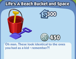 Lifes a beach bucket and space