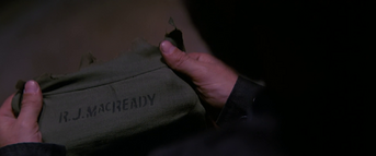 Torn clothing with MacReady name-tag - The Thing (1982)