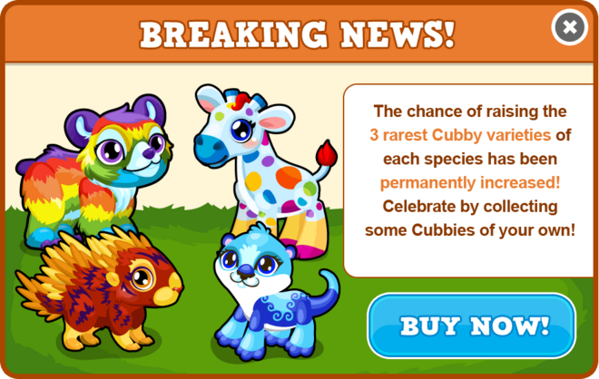 Cubbies increased chance modal