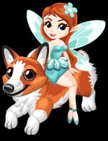 Fairy on a corgi single