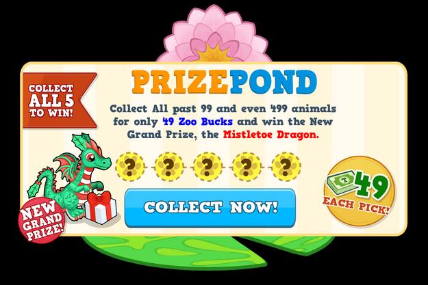 Prize pond mistletoe dragon modal