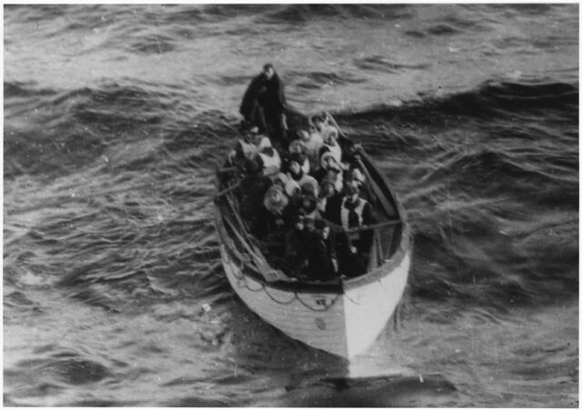 File:Photograph of a Lifeboat Carrying Titanic Survivors - NARA - 278337.jpg