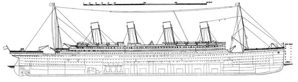 Titanic side plan 1911