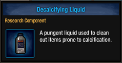 Decalcifying liquid