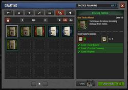 Tactics Manual crafting menu