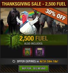 Tlsdz thanksgiving sale 2015 - 2500 fuel
