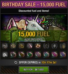 Tlsdz birthday sale 15000 fuel