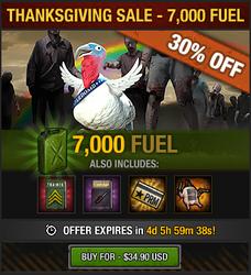 Tlsdz thanksgiving sale 2015 - 7000 fuel