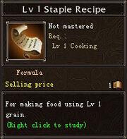 Lv1 Staple Recipe Details