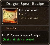 Dragon Spear Recipe