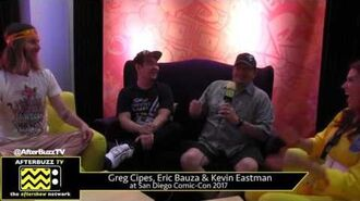 Greg Cipes, Eric Bauza and Kevin Eastman (TNMT) at San Diego Comic-Con 2017