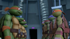 '12 and '87 Turtles stare each other