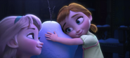 Little Elsa and Anna with Olaf