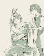 Illustration of Renji Yomo and Touka Kirishima