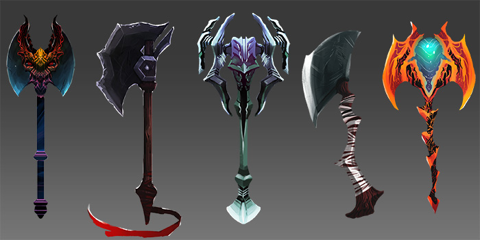 Axes, staves (spells), swords, daggers - oh my!