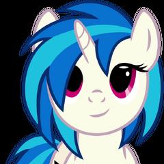 One of her favorite ponies, Vinyl Scratch.