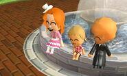 Family at fountain