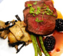 Venison Loin with Celery Root Puree