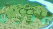 Toriko using various attacks on Four Beasts arms