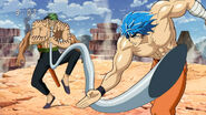 Toriko stopping Grinpatch from sucking Terry