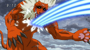 Toriko hitting Gaoh with Cannon Fork