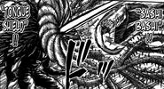 Midora using Tongue Shield to protect himself from Ichiryuu's Sashi Bashi