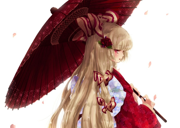 File:Video games touhou flowers long hair fujiwara no mokou red eyes bows traditional dressing umbrellas www.wallpapermi.com 18.jpg