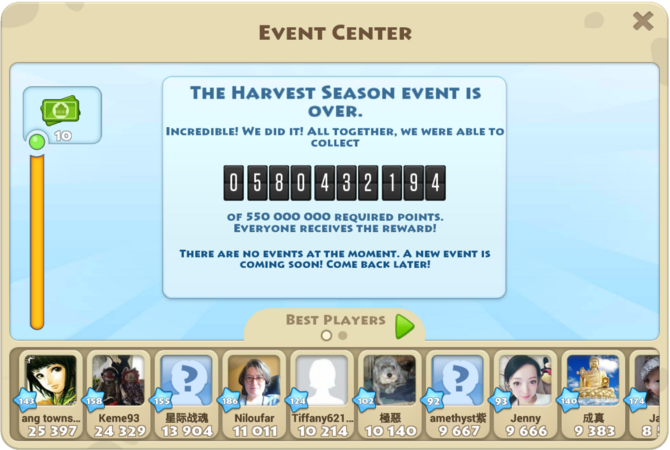 Harvest Season Global Event Goal Reached