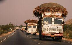 Trucks on the highway, Rajasthan